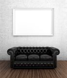 Black leather sofa. 3D render of black leather sofa next to white wall with blank frame Royalty Free Stock Photo