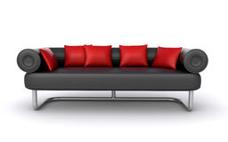 Black leather sofa. With red cushions on the white background (3d render&#x29 Royalty Free Stock Photos