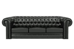 Black leather sofa 3d. Black leather sofa isolated over the white 3d Royalty Free Stock Photo