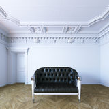 Black leather sofa in classic style apartment 3d render.  Royalty Free Stock Photos