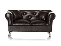 Black leather sofa Royalty Free Stock Image
