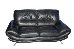 Black leather sofa.Isolated. Royalty Free Stock Photos