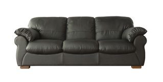 Black leather sofa isolated on white Royalty Free Stock Images