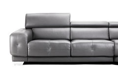 Black leather sofa Stock Photos