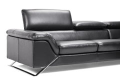 Black leather sofa Royalty Free Stock Photography