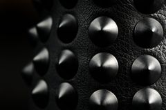 Black Leather Spikes on Shoes Royalty Free Stock Photo