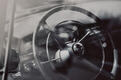 Black Leather Steering Wheel Royalty Free Stock Photography