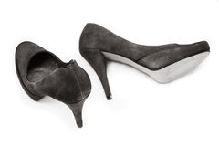 Black leather stiletto heels Royalty Free Stock Photo