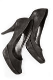 Black leather stiletto heels Stock Photos