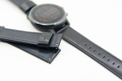 Leather strap of watch. Black leather strap of watch Stock Photos