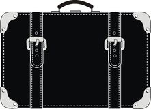 Black leather suitcase with straps. Vector isolated illustration on white background Royalty Free Stock Photos