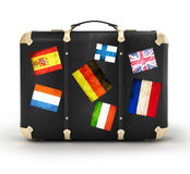 Black leather suitcase Stock Images