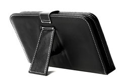 Black leather tablet case Royalty Free Stock Photos