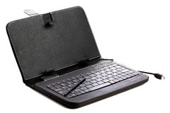 Black leather tablet case with keyboard Royalty Free Stock Images