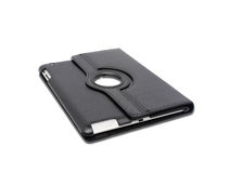 Black leather tablet computer bag on a white Stock Photography