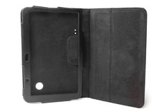 Black leather tablet computer case Stock Photography