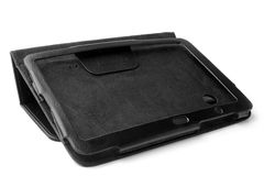 Black leather tablet computer case Royalty Free Stock Photo