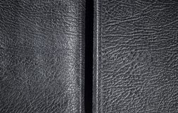 Black leather texture, background with copyspace Stock Image