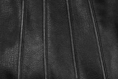 Black leather texture detail with zips Stock Images