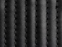Black leather texture with seam. For background stock image