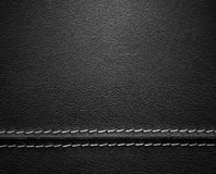 Black Leather Texture with Stitch. Real close-up of black leather background texture Stock Image