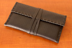 Black Leather Tobacco Pouch. Made of natural leather for storage of tabacco bags Stock Image