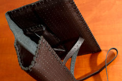 Black Leather Tobacco Pouch Stock Images
