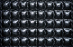 Black leather upholstery of furniture. Textures Stock Photography
