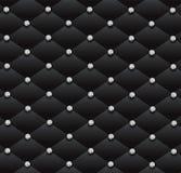 Black sofa diamonds leather glamour pattern background. Black leather upholstery pattern background, vector illustration with diamonds studded elegant, luxury Stock Photo