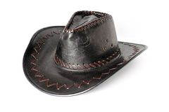 Black, leather, vintage cowboy hat on a white background stock photography