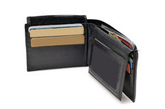 Black leather wallet Stock Photos