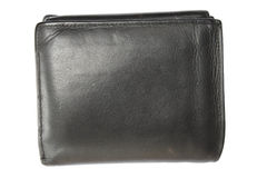 Black leather wallet. Old black leather wallet isolated on white background Royalty Free Stock Photo