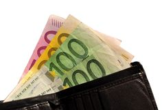 Black leather wallet and 900 euros Stock Photo