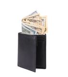 Black leather wallet with american dollars. Royalty Free Stock Photography