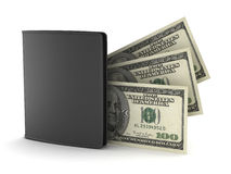 Black leather wallet and bank notes Royalty Free Stock Photo