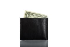 Black leather wallet with bills isolated on white Royalty Free Stock Photo
