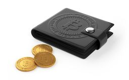 Black leather wallet with bitcoin logo on isolated. Coins are near black leather wallet with white background Stock Photo