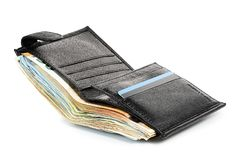 Black leather wallet Stock Image