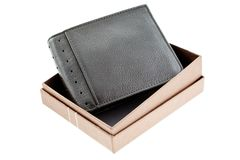 Black leather wallet in a box isolated Royalty Free Stock Photography