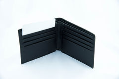 Black leather wallet with a card Royalty Free Stock Photo