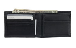 Black leather wallet with cards and cash. An open wallet isolated on a white background. American currency and some unidentifiable credit cards are visible in royalty free stock images