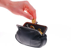 Black leather wallet, with coins Stock Photography