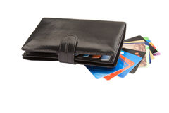 Black leather wallet with credit cards Stock Photography