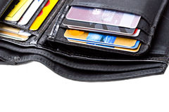 Black leather wallet with credit cards close up Royalty Free Stock Images