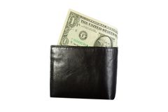 Black leather wallet with dollar Royalty Free Stock Photos