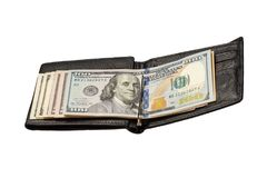 Black leather wallet with dollar bills on isolated white backgro Stock Photo