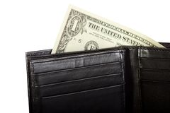 Black leather wallet with dollar inside Stock Photos