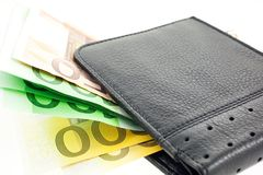 Black leather wallet with euro notes Stock Image