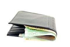 Black leather wallet with euro notes Royalty Free Stock Images
