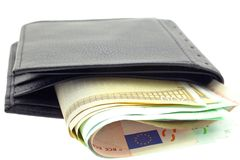 Black leather wallet with euro notes Royalty Free Stock Photos